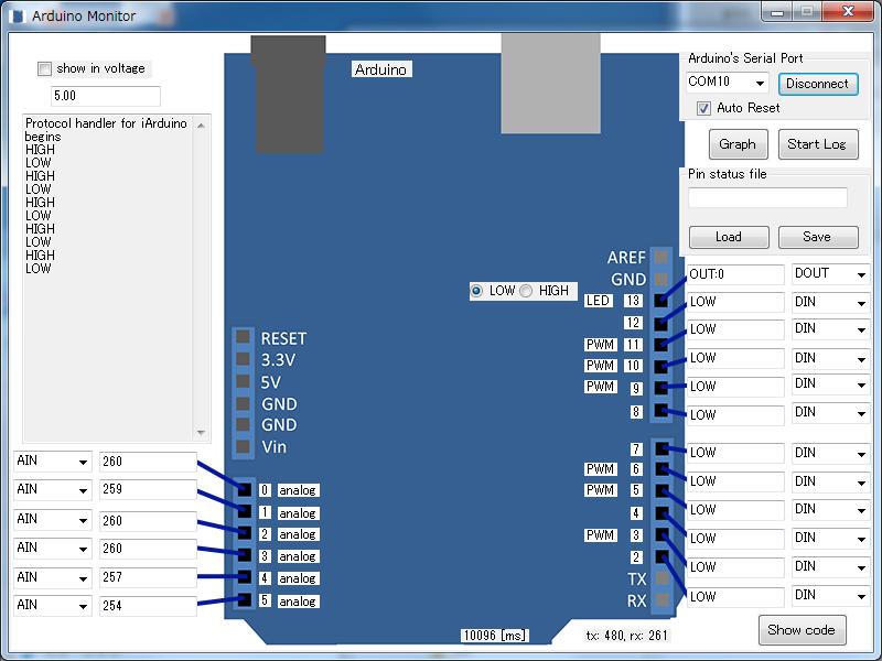 Monitor program for arduino